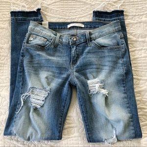 Vici Kancan Distressed Hem Jeans - size 27